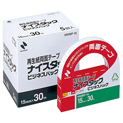 ニチバン 両面テープ ナイスタック 一般タイプ 15mm 5巻入 NWBP-15 大巻(10セット)