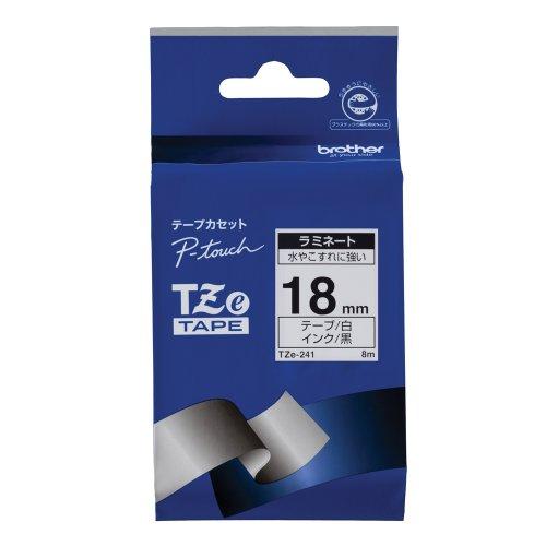 ブラザー工業 TZeテープ ラミネートテープ(白地/黒字) 18mm TZe-241(10セット)