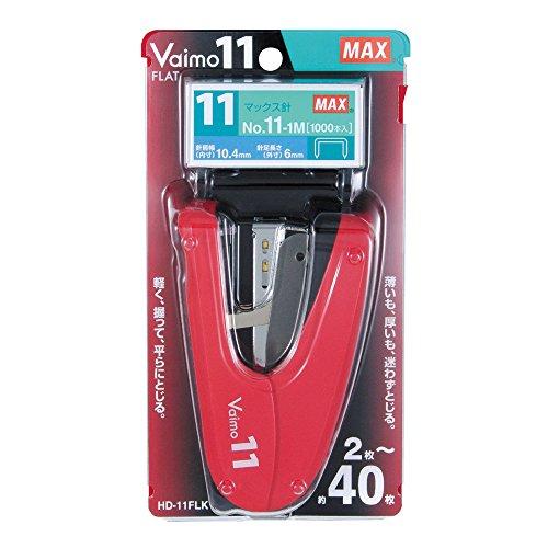 マックス ホッチキス バイモ11 フラット 40枚とじ レッド 紙箱 HD-11FLK/R(10セット)