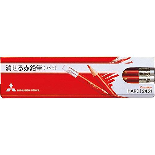 ミツビシ 三菱鉛筆 UNI 色鉛筆 消せる赤鉛筆 12本入 K2451(10セット)