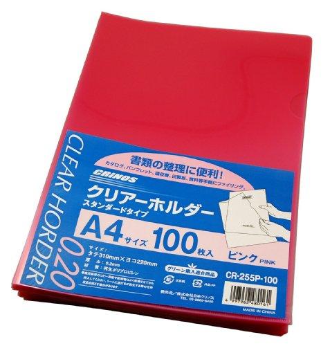 【送料無料・単価1709円・10セット】日本クリノス カラークリアホルダー ピンク 100枚パック CR-255PN-100(10セット)