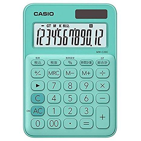 カシオ 電卓 12桁 (ミントグリーン)CASIO カラフル電卓 ミニジャストタイプ MW-C20C-GN (10セット)