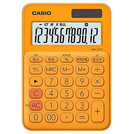カシオ 電卓 12桁 (オレンジ)CASIO カラフル電卓 ミニジャストタイプ MW-C20C-RG (10セット)