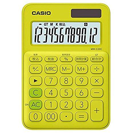 カシオ 電卓 12桁 (ライムグリーン)CASIO カラフル電卓 ミニジャストタイプ MW-C20C-YG (10セット)