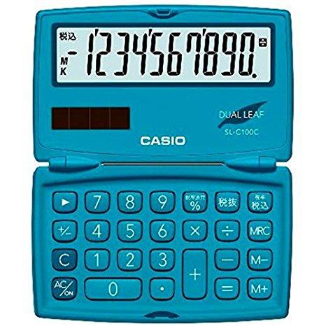 カシオ 電卓 10桁 (レイクブルー)CASIO カラフル電卓 折りたたみ手帳タイプ SL-C100C-BU (10セット)