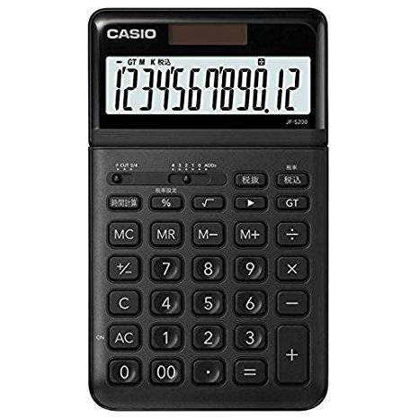 カシオ 電卓 12桁 (ブラック)CASIO スタイリッシュ電卓 ジャストタイプ JF-S200-BK (5セット)