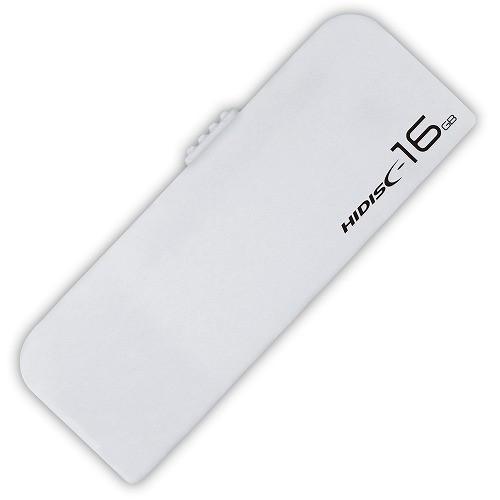 HIDISC USB2.0 フラッシュドライブ 16GB ホワイト スライド式 ストラップホール付 HDUF116S16G2(5セット)