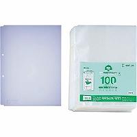 【送料無料・単価1372円・10セット】キングジム 再生透明ポケット A4S 2穴 100枚 207-100(10セット)