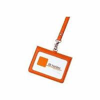 【送料無料・単価1044円・100セット】レイメイ藤井 IDカードホルダー イタリアン合皮 オレンジ GLP155D(100セット)