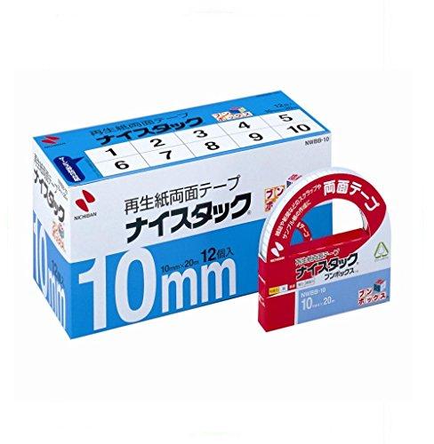 ニチバン 両面テープ ナイスタック 一般タイプ 10mm 12巻入 NWBB-10 大巻(10セット)