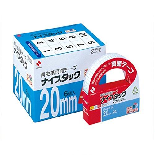 ニチバン 両面テープ ナイスタック 一般タイプ 20mm 6巻入 NWBB-20 大巻(10セット)