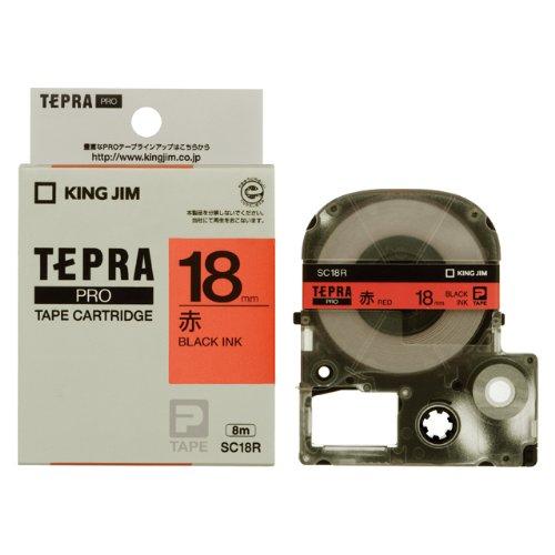 キングジム テプラ SRシリーズ専用テープカートリッジカラーラベル【パステル】8m【赤ラベル 黒文字】 SC18(10セット)