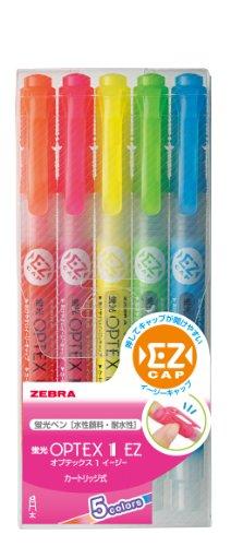 Zebra highlighter OPTEX 1 EZ five colors WKS11-5C ゼブラ 蛍光オプテックス WKS11-5C ゼブラ 4901681313808
