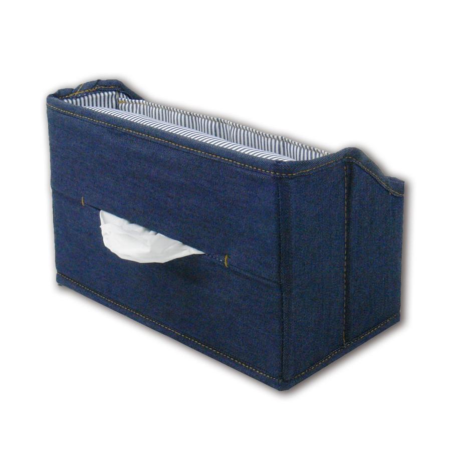 東洋ケース L.S.M.デニム ティッシュスタンドボックス 収納ポケット付き ネイビー デニム調 LSM2-TSB-NV(4セット)