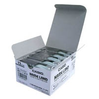カシオ計算機 テープ XR-12X-5P-E 透明に黒文字 12mm5個(10セット)