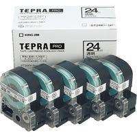 キングジム PROテープ ST24K-5P 透明に黒文字24mm 5個(10セット)