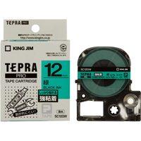 キングジム PROテープ強粘着 SC12GW 緑に黒文字 12mm(10セット)