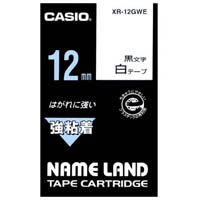 Casio calculator strength adhesive tape XR-12GWE white on black 12 mm