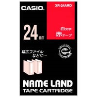 カシオ計算機 ラベルテープ XR-24ARD 赤に白文字 24mm(10セット)