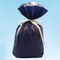 カクケイ 梨地リボン付き巾着袋 紺 M 20枚 FK2407(10セット)