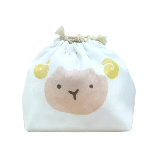 東洋ケース 巾着袋 LIKE KITCHEN 保冷機能有り アルミ蒸着シート使用 おかおきんちゃく ひつじ KT-KAO2-HITSU (60セット)