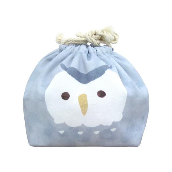 東洋ケース 巾着袋 LIKE KITCHEN 保冷機能有り アルミ蒸着シート使用 おかおきんちゃく グレーフクロウ KT-KAO2-GFUKU (60セット)