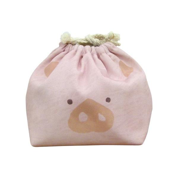 東洋ケース 巾着袋 LIKE KITCHEN 保冷機能有り アルミ蒸着シート使用 おかおきんちゃく ブタ KT-KAO2-BUTA (60セット)