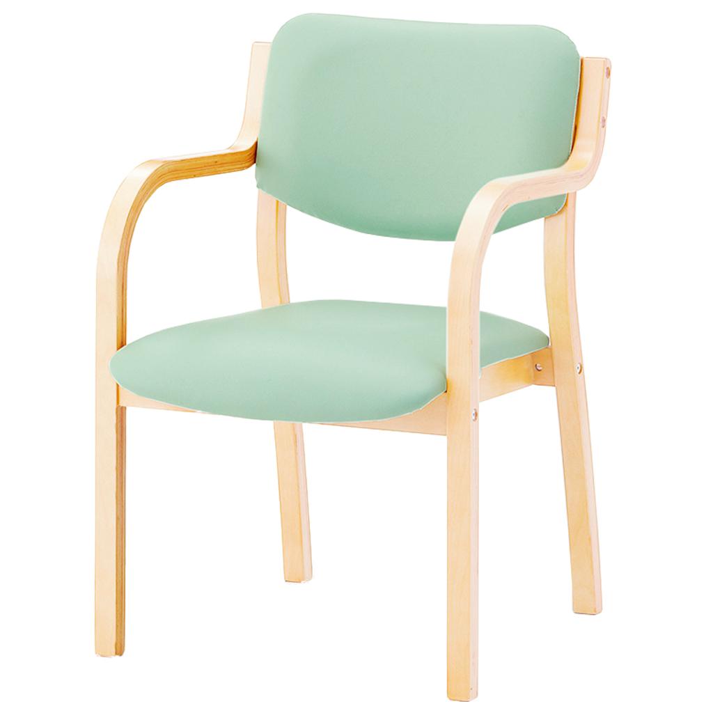 【組立不要】ダイニングチェア 肘付き 木製椅子 肘掛 レザー スタッキングチェア 福祉 介護 食堂 福祉施設 病院 待合室 いす イス R-リーズチェアMN-V(S)【SS0602】