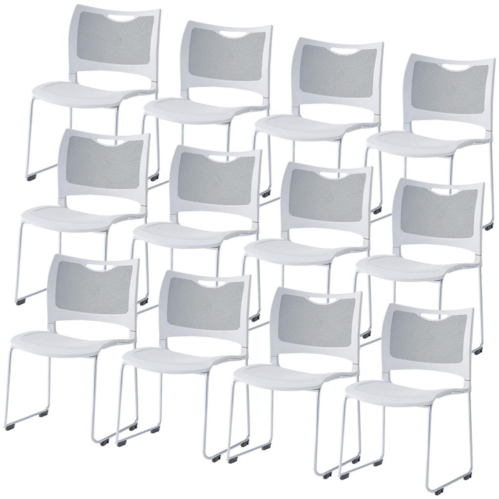 【12脚セット】ミーティングチェア スタッキングチェア 組立不要 収納 アイリスチトセ オフィス家具 会議椅子 スタックチェア 会議チェア 会議用椅子 会議室用椅子 積重 会議 会議用 椅子 【12脚セット】 R-MC-MKM01【SS0602】