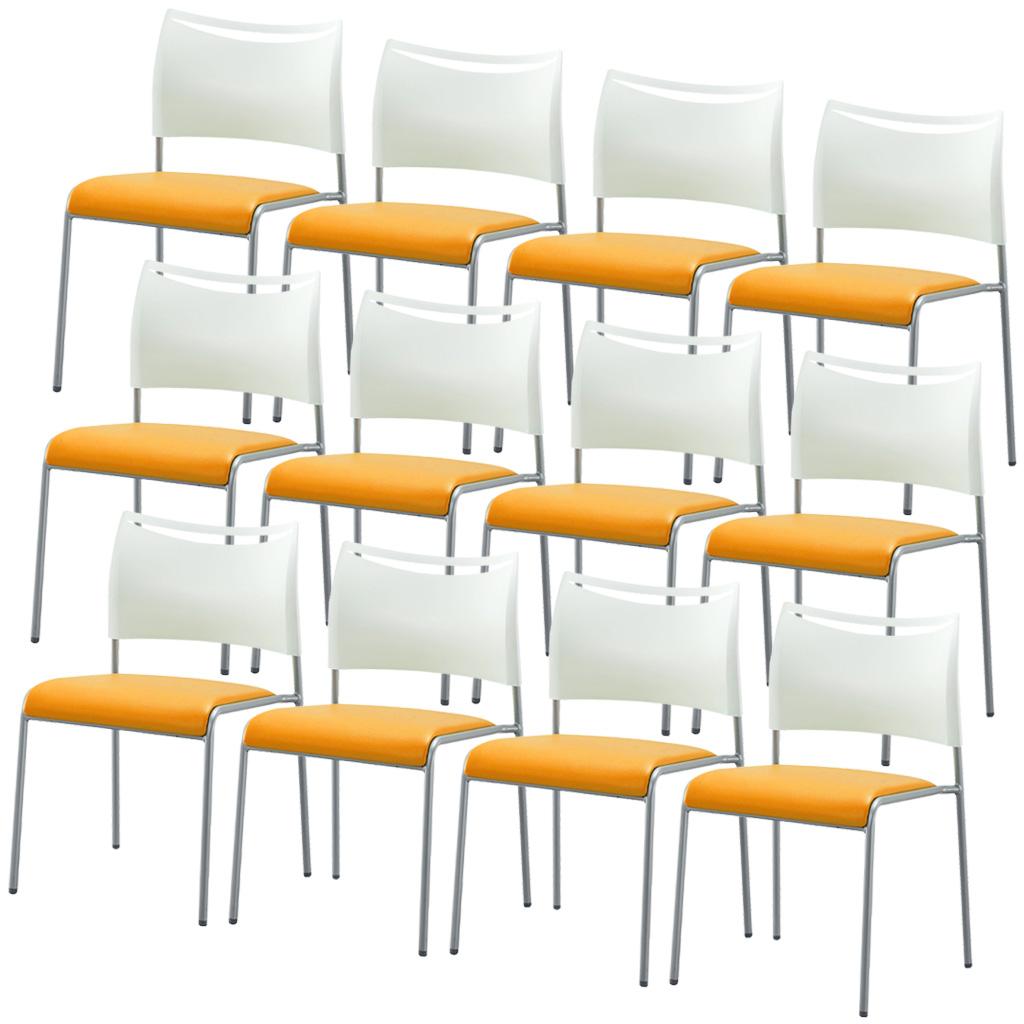 レビューを書いてクーポンプレゼント【法人様限定】【12脚セット】ミーティングチェア スタッキングチェア 組立不要 収納 樹脂×レザー アイリスチトセ オフィス家具 会議用椅子 パイプ椅子 4本脚 スタッキング7脚 収納 R-LTS-4V