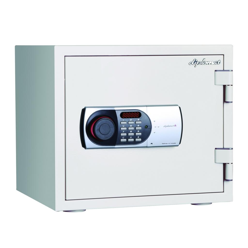 デジタルテンキー式 耐火金庫 60分耐火 容量19L ホワイト 警報音付 R-119EN88