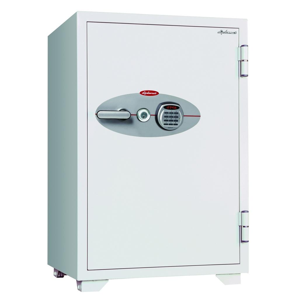 【法人様限定】 鍵+デジタルテンキー式金庫 120分耐火 容量129L ホワイト 警報音付 R-100EKR3
