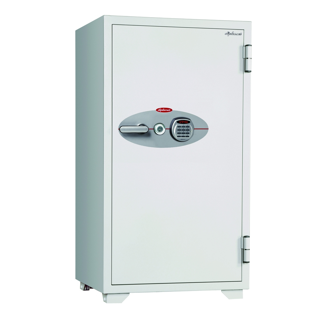鍵+デジタルテンキー式金庫 120分耐火 容量162L ホワイト 警報音付 R-120EKR3