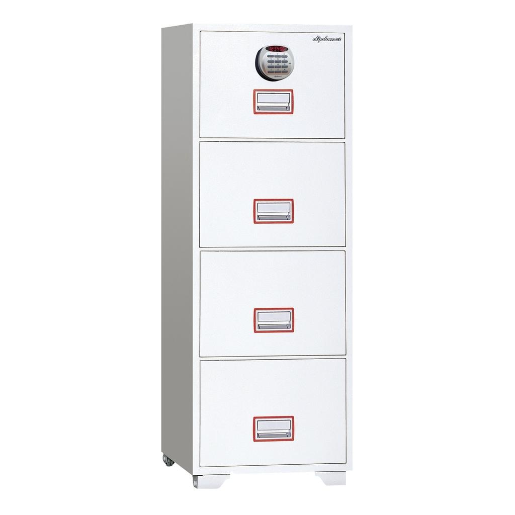デジタルテンキー式金庫 60分耐火キャビネット4段 容量208L ホワイト 警報音付 R-DFC4000R3【SS0602】