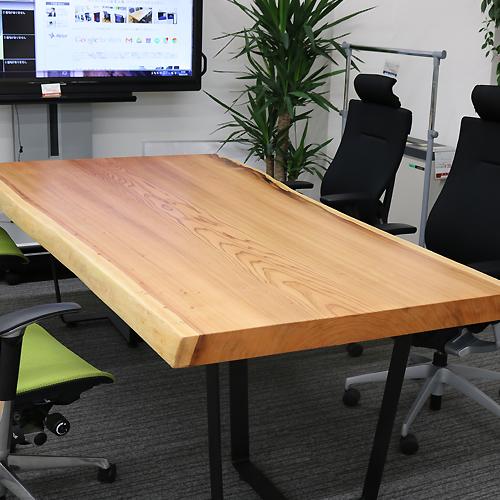 [店頭受取可]OFFICE PORTAL オリジナル 一枚板テーブル W2260 杉 オフィス向け会議テーブル