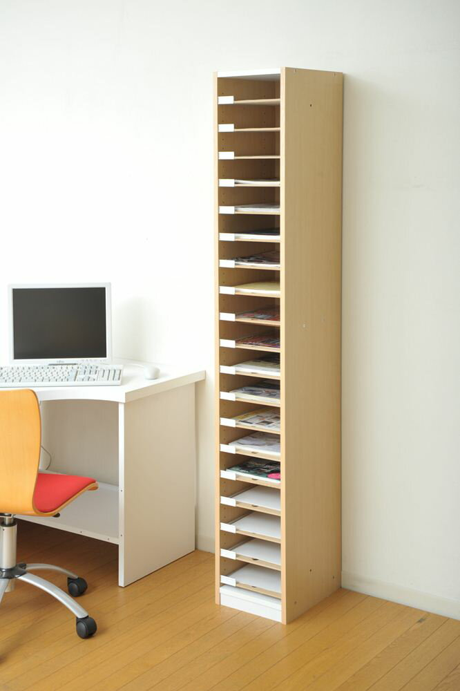 引出しタイプの用紙整理棚A4サイズ可動棚板19枚の木製収納キャビネット安心の日本製【お客様組立】VALUtec PLN-18