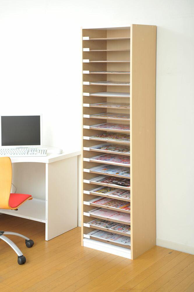 引出し式用紙整理棚 A3サイズ可動棚板19枚の木製収納キャビネット安心の日本製【お客様組立】VALUtec PLN-19