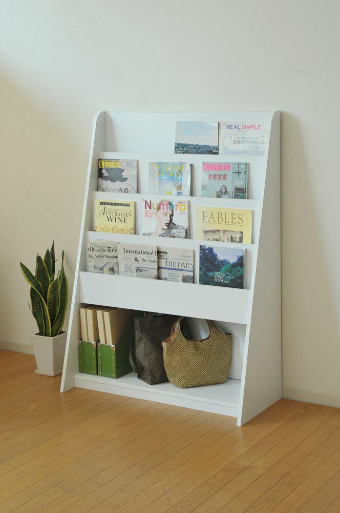 雑誌ラック マガジンラック 明るいホワイト雑誌用4段と本や小物置きスペース1段少し余裕の幅90x高さ1260(mm)安心の日本製【お客様組立】VALUtec MAW-12