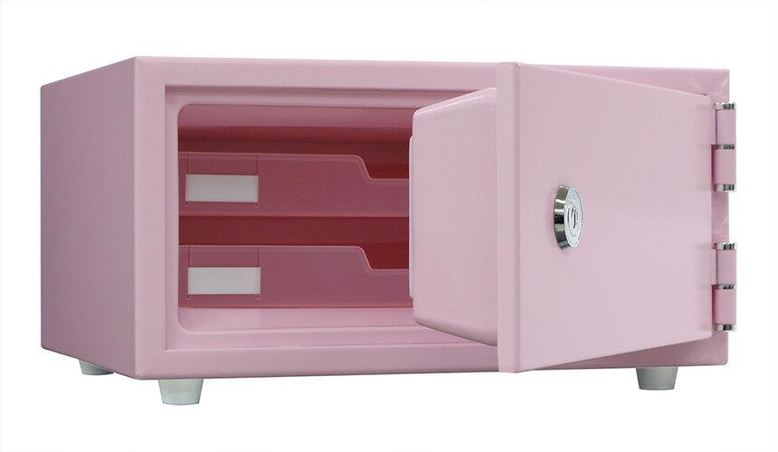【パステルカラーでおしゃれな小型金庫】ピンクとブルー 2色の耐火金庫リバーシブル錠タイプで簡単操作貴重品保管庫 1時間耐火【送料無料】日本アイエスケイ CPS-30K