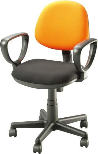 【オフィスチェア】事務用OAチェアコンパクトでカラフルな事務用チェアLFJ LR-2730A-OR布張り(オレンジ/ブラック) 肘付【お客様組立】