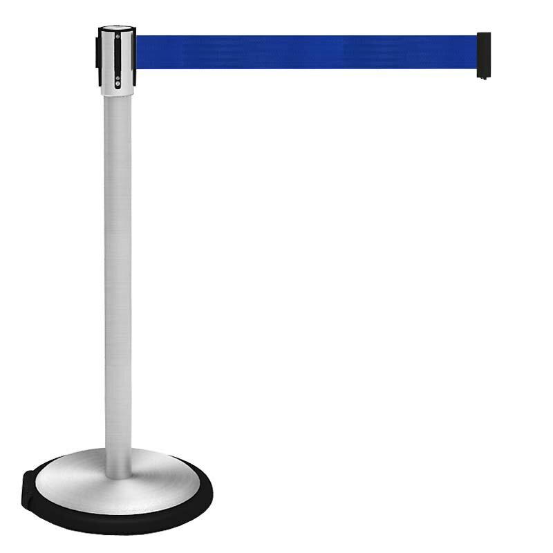 【お客様組立】頑丈な ベルト パーティション キャスター型(簡単移動)ブルー BPC-890-BL