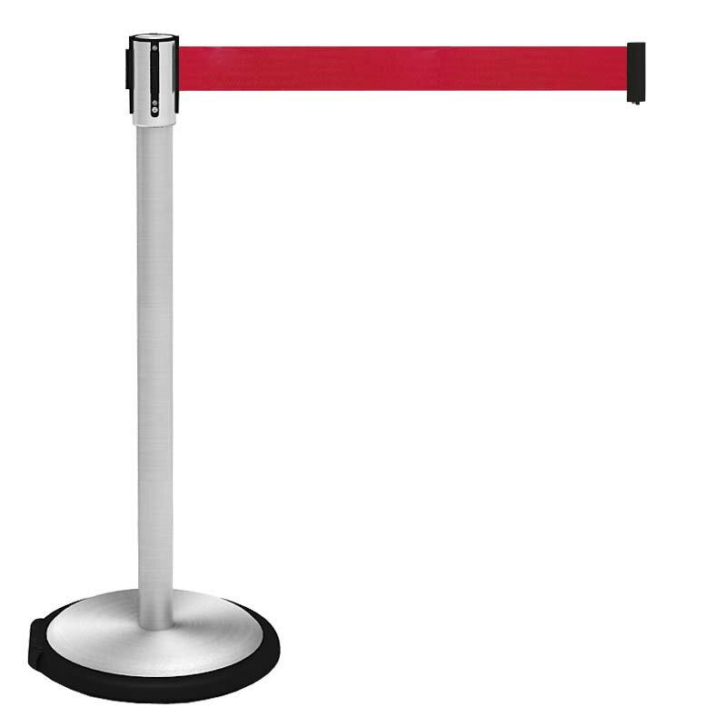 【お客様組立】頑丈な ベルト パーティション キャスター型(簡単移動) レッド BPC-890-RD
