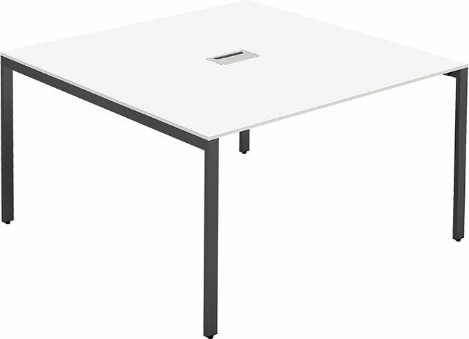 スクエアミーティング テーブル会議テーブル 幅 1200x奥行1200(mm) ホワイト天板 配線ボックス付【お客様組立】 FAS-1212-WH