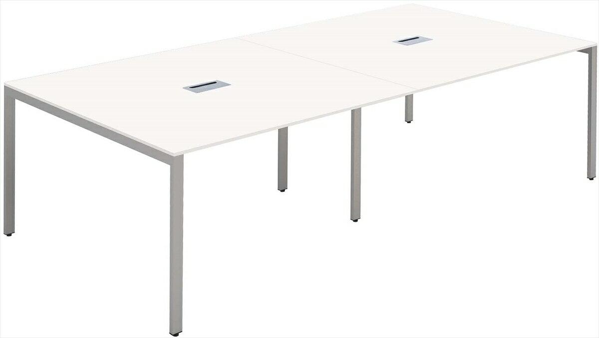 大型ミーティング テーブル会議テーブル/フリーアドレス幅2400x奥行1200(mm)ホワイト天板 配線ボックス付【お客様組立】 FAS-2412-WH