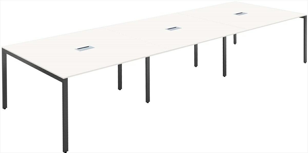 大型ミーティング テーブル会議テーブル/フリーアドレス幅3600x奥行1200(mm)ホワイト天板 配線ボックス付【お客様組立】 FAS-3612-WH