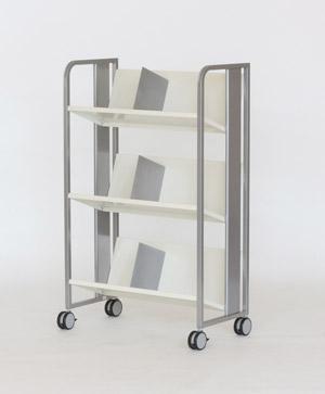 PB-H 重量物対応 ファイルワゴン 3段[シルバーメタリック色][傾斜棚][ブックエンド3個付き][キャスター付き][ブックエンド3個付き][W720×D405×H1134mm]【お客様組立】各種デスク用オプション