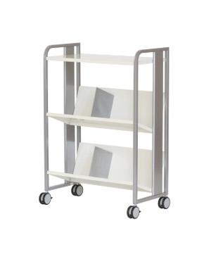PB-H 重量物対応 ファイルワゴン 天板付き 2段[シルバーメタリック色][傾斜棚][ブックエンド6個付き][キャスター付き]【お客様組立】各種デスク用オプション