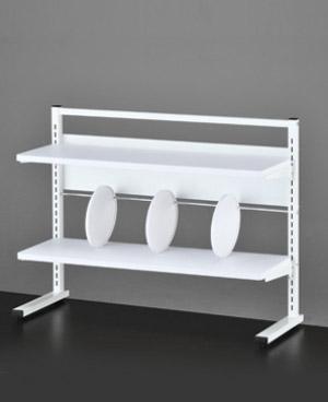 PB-H 可動棚付デスクラック 机上ラック[W845×D308×H639mm][仕切3個付][ホワイト色]【お客様組立】各種デスク・テーブル用