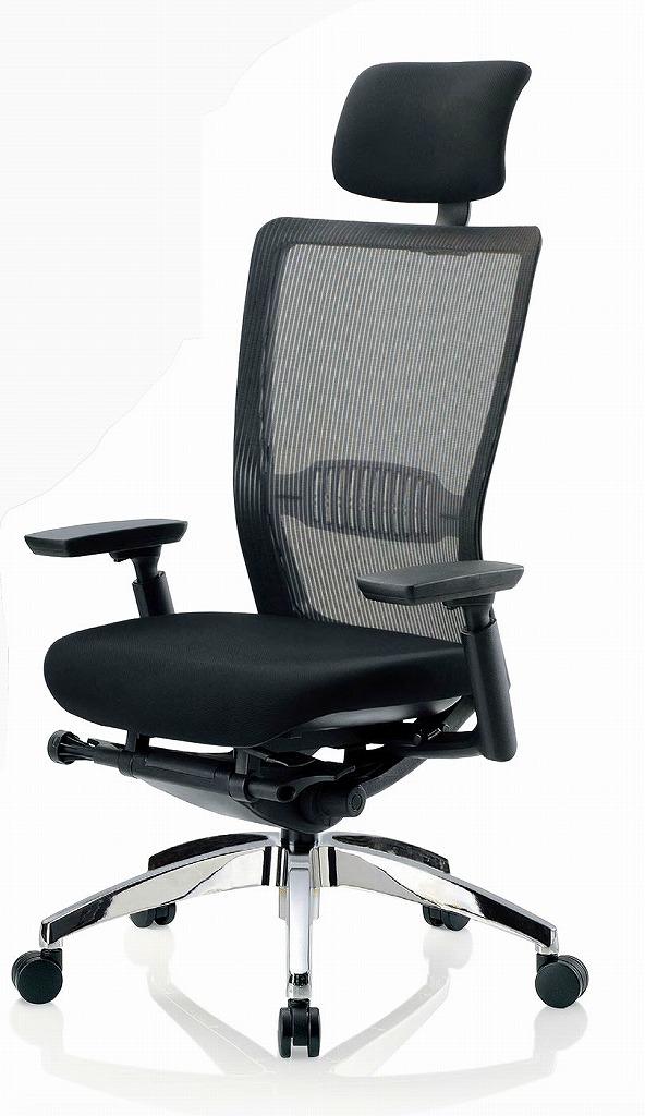 R-5775チェア メッシュチェア 【 ハイバック 】 【 可動肘 肘付き 】 【 ランバーサポート付 】 【 背面メッシュ 】 【 アルミ脚 】 【 布張り 黒色 】 事務用回転椅子 オフィスチェア パソコンチェア OAチェア PCチェア デスク用チェア 高級チェア ビジネスチェア