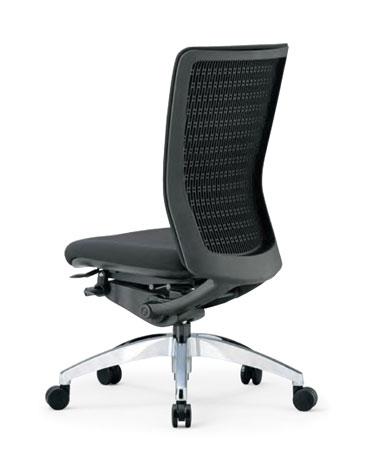 R-5525チェア 【 ミドルバック 】 【 肘なし 】 【 背張り付タイプ 】 【 アルミ脚 】 【 防汚布張り 黒色 】 事務用回転椅子 オフィスチェア ビジネスチェア パソコンチェア OAチェア PCチェア デスクチェア 高級チェア